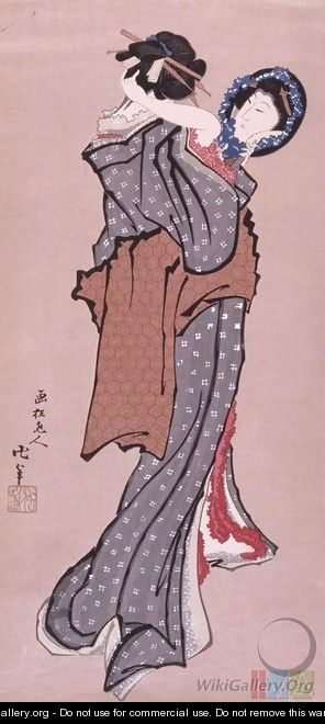 Katsushika Hokusai Woman Looking in Mirror